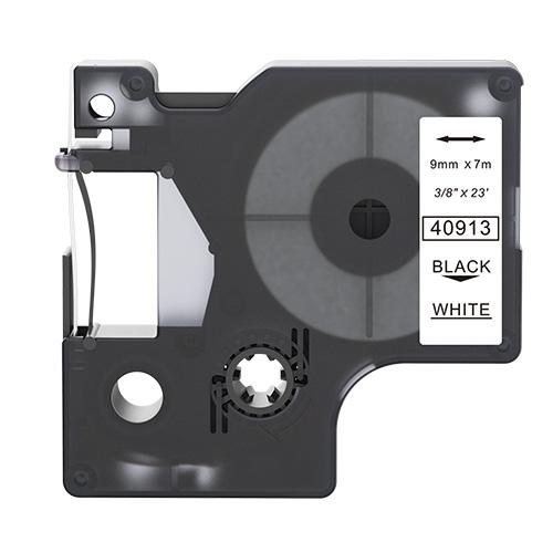 Dymo 40913 compatible lettertape zwart op wit 9mm