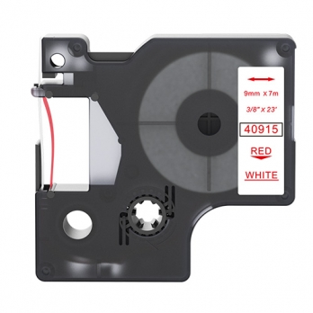 Dymo 40915 compatible lettertape rood op wit 9mm