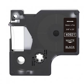 Dymo 40921 compatible lettertape wit op zwart 9mm