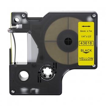Dymo 43618 compatible lettertape zwart op geel 6mm