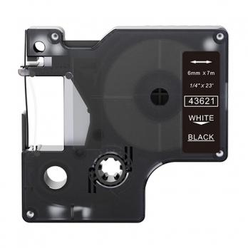 Dymo 43621 compatible lettertape wit op zwart 6mm