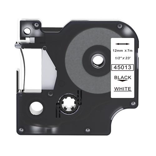 Dymo 45013 compatible lettertape zwart op wit 12mm
