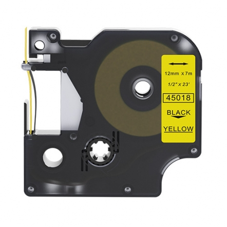 Dymo 45018 compatible lettertape zwart  op geel 12mm