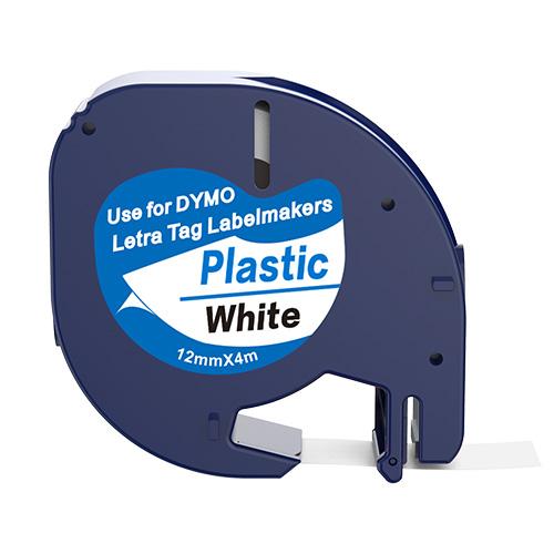 Dymo 91201 compatible lettertape zwart op wit 12mm