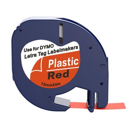 Dymo 91203 compatible lettertape zwart op rood 12mm