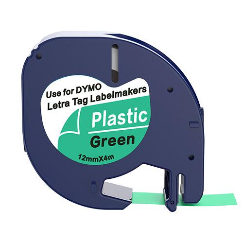 Dymo 91204 compatible lettertape zwart op groen 12mm