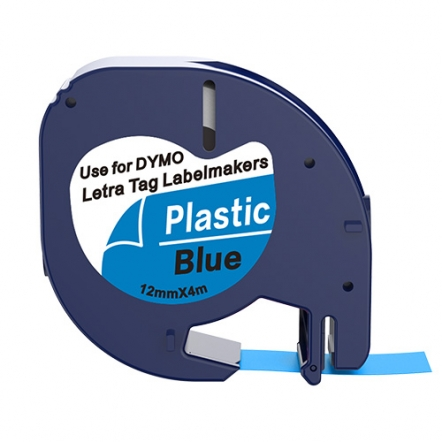 Dymo 91205 compatible lettertape zwart op blauw 12mm